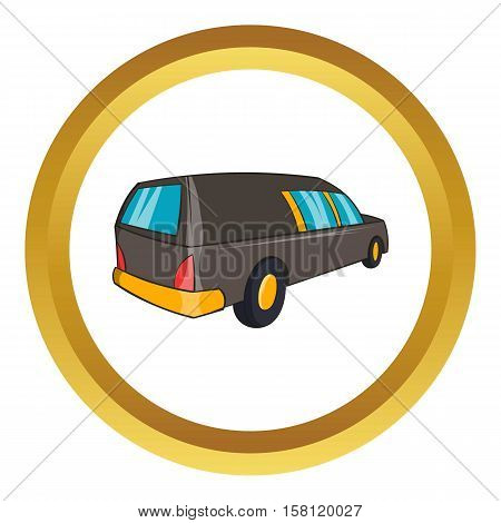 Hearse vector icon in golden circle, cartoon style isolated on white background