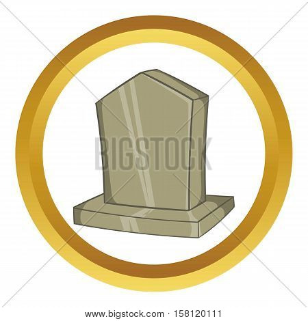 Sepulchral monument vector icon in golden circle, cartoon style isolated on white background