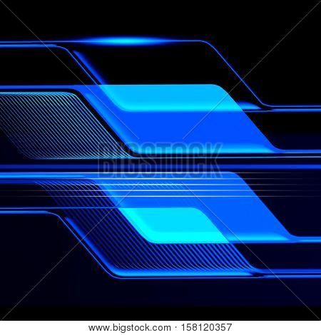 The background in blue techno style was made in Cinema 4D