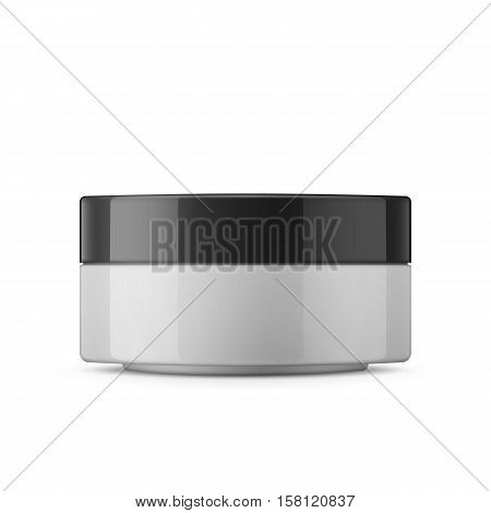 Round white glossy plastic jar with black lid for cosmetics - body cream, butter, scrub, bath salt, gel, skin care, powder. Realistic packaging mockup template. Side view. Vector illustration.