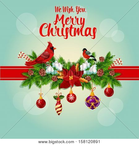 Merry Christmas greeting card tied with red cardinal birds, ribbon and decorated with christmas holly, pine, fir garland bow, christmas ornaments baubles, poinsettia star flower, bullfinch and candy canes