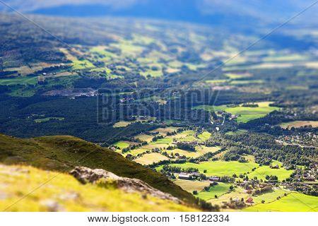 Oppdal mountain valley landscape bokeh background hd