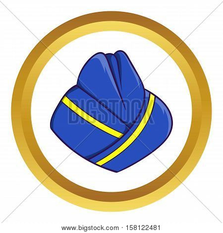 Blue forage cap of stewardess vector icon in golden circle, cartoon style isolated on white background