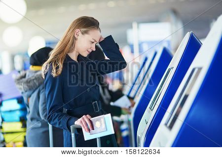 Young Woman In International Airport