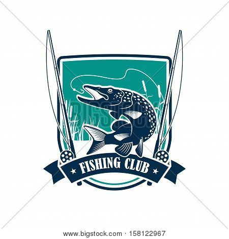 Fishing club symbol on heraldic shield. Pike fish leaping out of the water with a river landscape on the background, flanked by fishing rod and ribbon banner. Fishing trip, sporting design