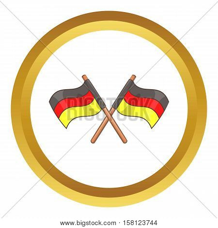 Two crossed flags of Germany vector icon in golden circle, cartoon style isolated on white background