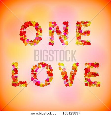 Inscription from hearts. One love. Vector illustrations