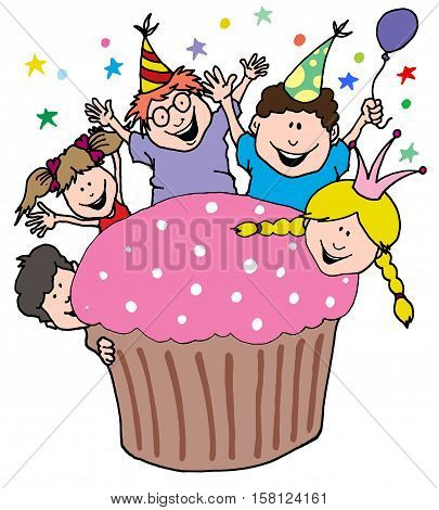 Cartoon Illustration of a Party Invitation From Kids With a Giant Cupcake