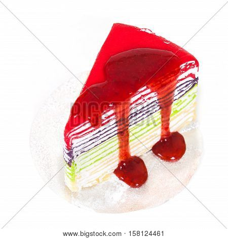 colorful crape cake on white background with Selective Focus
