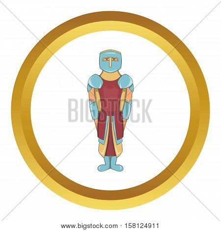 Ancient spartan gladiator legionnaire vector icon in golden circle, cartoon style isolated on white background
