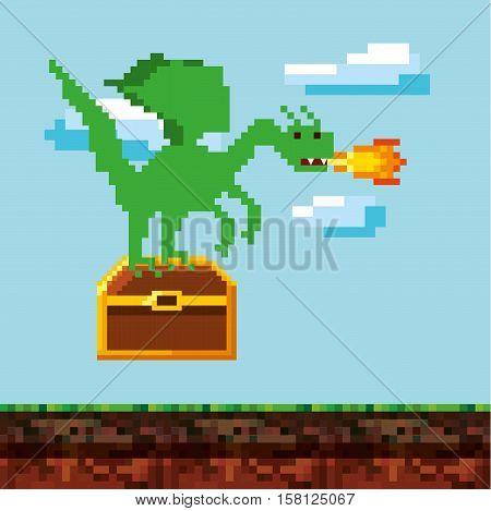 pixel dragon throwing fire over landscape landscape. video game interface design. colorful design. vector illustration
