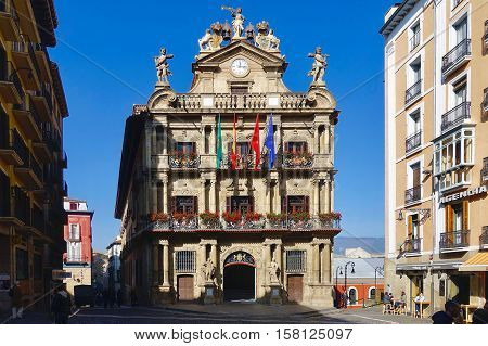 Pamplona, Spain, November 2, 2016: The town hall of Pamplona in Spain.