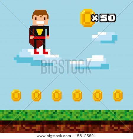 pixel superhero character and gold coins over landscape background.  Video game interface design. Colorful design. vector illustration