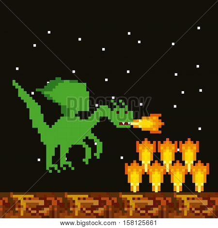 pixel dragon throwing fire over  night landscape background. video game interface design. colorful design. vector illustration