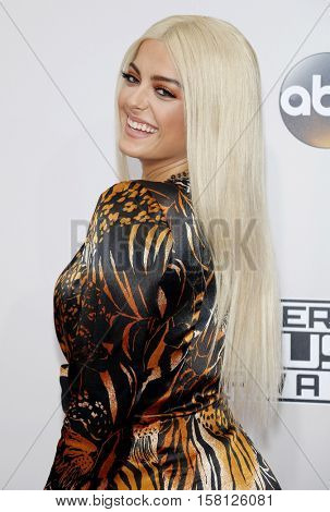 Bebe Rexha at the 2016 American Music Awards held at the Microsoft Theater in Los Angeles, USA on November 20, 2016.