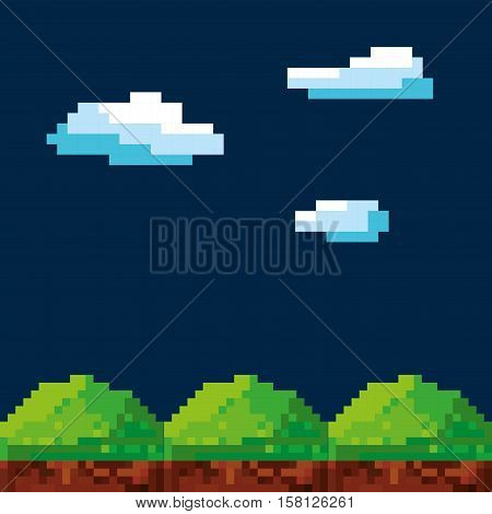 pixel night landscape. Video game interface design. Colorful design. vector illustration