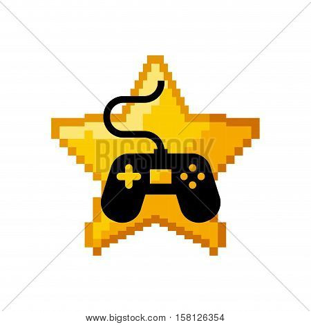 pixel star with videogame control icon inside over white background. Video game interface design. Colorful design. vector illustration