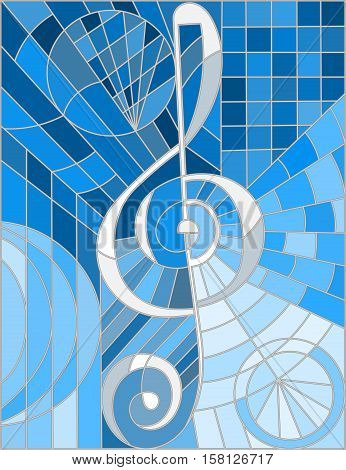 Abstract image of a treble clef in stained glass style blue gamma