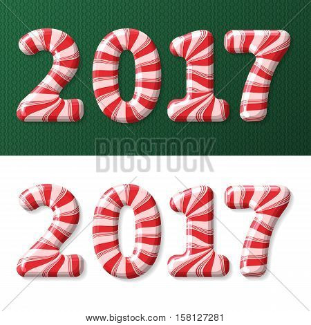 Candy cane numbers of 2017 new year holiday on green decorated pattern and white background. Vector isolated illustration