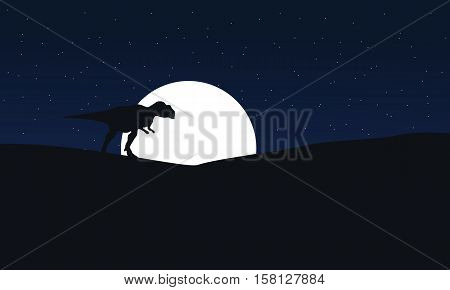 Illustration of mapusaurus at night scenery collection stock