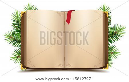 Open book with blank pages and red bookmark. Green Christmas pine branch. Isolated on white vector illustration