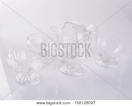 Bowl Or Empty Glass Ice Cream Dish On Background.