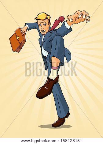 Businessman in a pose of tiger. Kung Fu. Vector illustration