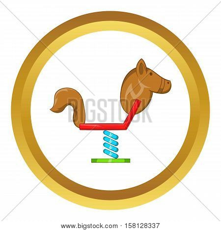 Horse swing vector icon in golden circle, cartoon style isolated on white background