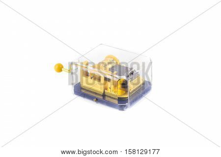 retro vintage music box isolated white background