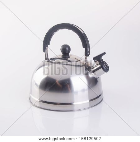 Kettle Or Stainless Steel Kettle On Background.