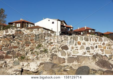 Ancient ruins of fortification in town of Sozopol, Bulgaria