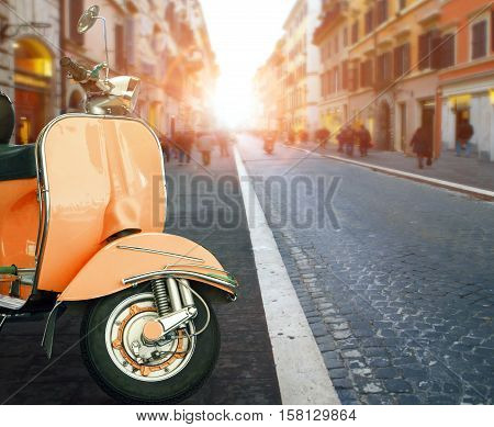 italian scooter and old building style in rome use as traveling background backdrop