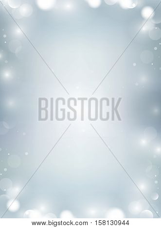 Vertical Winter Paper Background With Bokeh Border