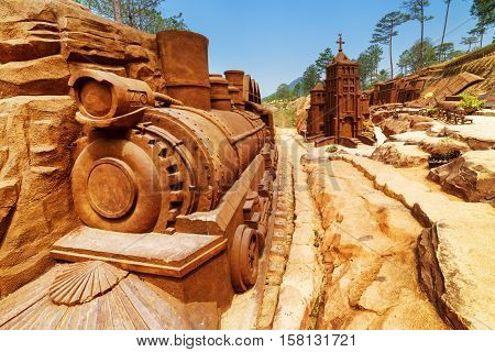 Clay Locomotive And Church In Clay Town, The Dalat Star