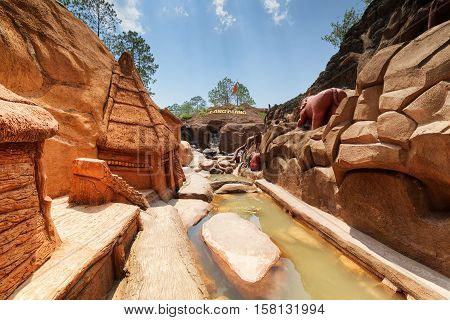 Amazing Canyon With Clay Houses And Animal Sculptures