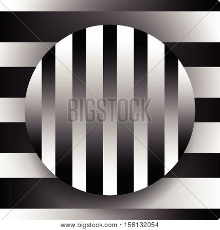 Contrasty Black And White Illustration With Circle Over Background