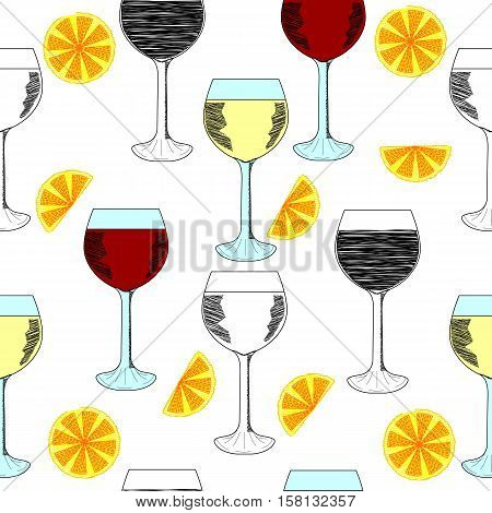 wine glasses with lemon slices. seamless pattern