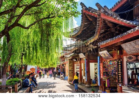Souvenir Shops On Scenic Street Of The Old Town Of Lijiang