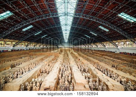 Main View Of Corridors With Ranks Of Terracotta Soldiers