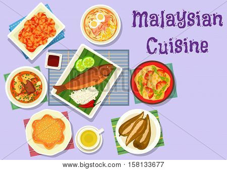 Malaysian cuisine fish curry icon served on banana leaf with chicken noodle soup, grilled fish with rice, fried chilli shrimp, beef ribs soup, pepper stuffed with fish, flower cake