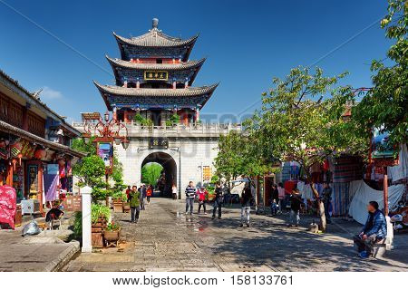 The Wuhua Tower Is Central Landmark Of Dali Old Town, China