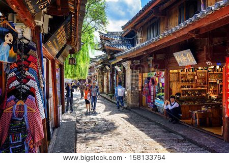 Souvenir Shops On Street Of The Old Town Of Lijiang, China