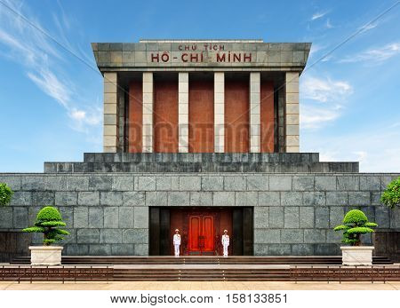 Honor Guard At Main Entrance To The Ho Chi Minh Mausoleum, Hanoi