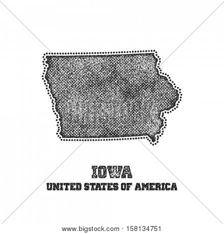 Label with map of iowa. Vector illustration.