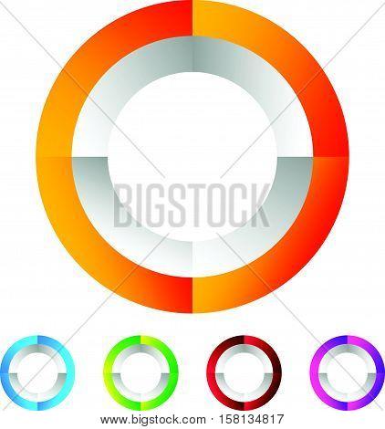 Segmented Circle Generic Abstract Icon, Circular Geometric Logo In 4 Colors.