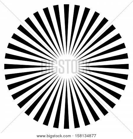 Rays, Beams Element. Sunburst, Starburst Shape On White. Radiating, Radial, Merging Lines. Abstract
