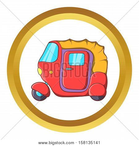 Auto rickshaw vector icon in golden circle, cartoon style isolated on white background