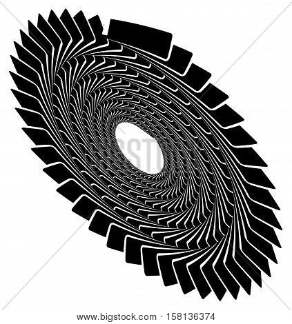 Circular Geometric Spiral, Volute Element. Rotating Radial Shape
