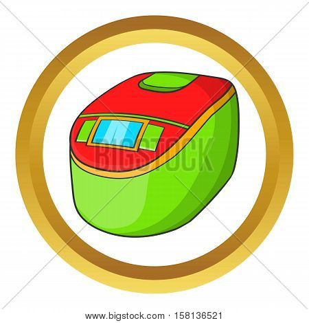 Slow cooker vector icon in golden circle, cartoon style isolated on white background