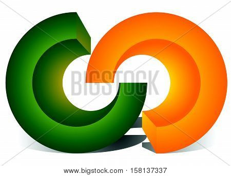 Interlocking Circles, Interlocking Rings As Abstract Connection, Symbiosis, Integration Icon